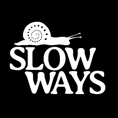 Slow ways logo showing a snail with spiral dots on the shell facing to the right on top of the word 'slow' with 'ways' offset beneath it.
